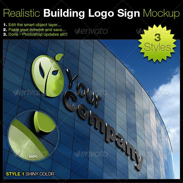 Realistic Building Logo Sign Mock-Up