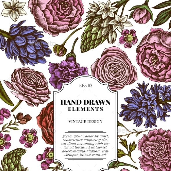 Card Design with Colored Peony, Carnation