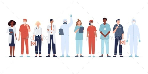 Set of Multicultural Medicine Workers. - People Characters
