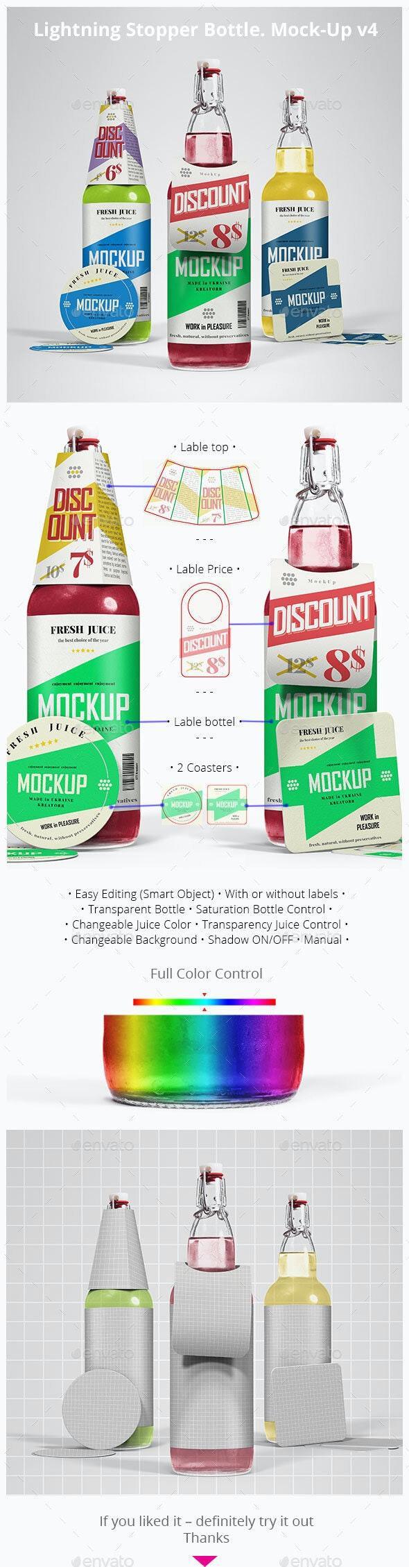 Lightning Stopper Bottle. Mock-Up V4 - Food and Drink Packaging
