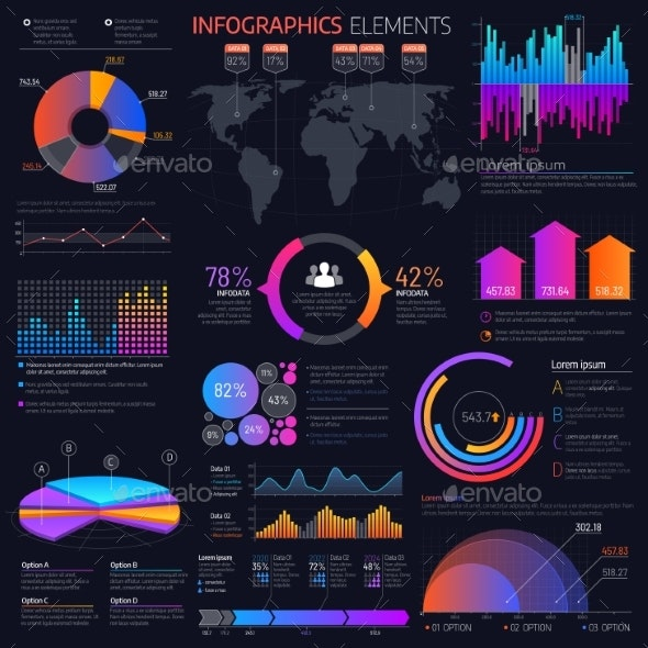 Business Infographics Elements, Charts and Graphs - Objects Vectors