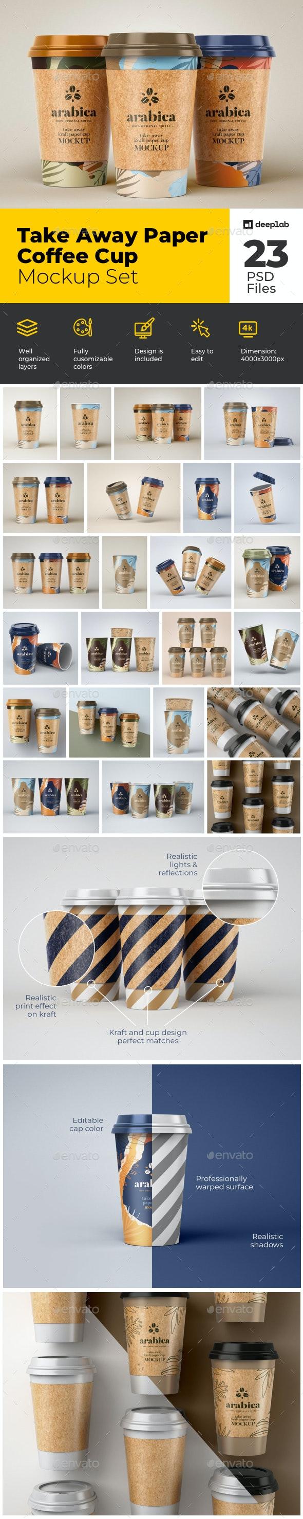 Take Away Paper Coffee Cup Mockup Set - Product Mock-Ups Graphics