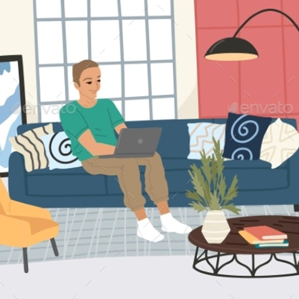 Man with a Laptop Sits in the Hall, Remote Work