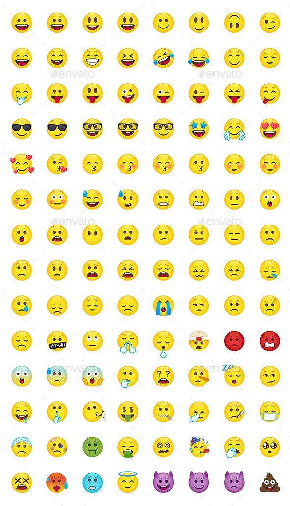 112 Cartoon Emoji Set - Miscellaneous Characters