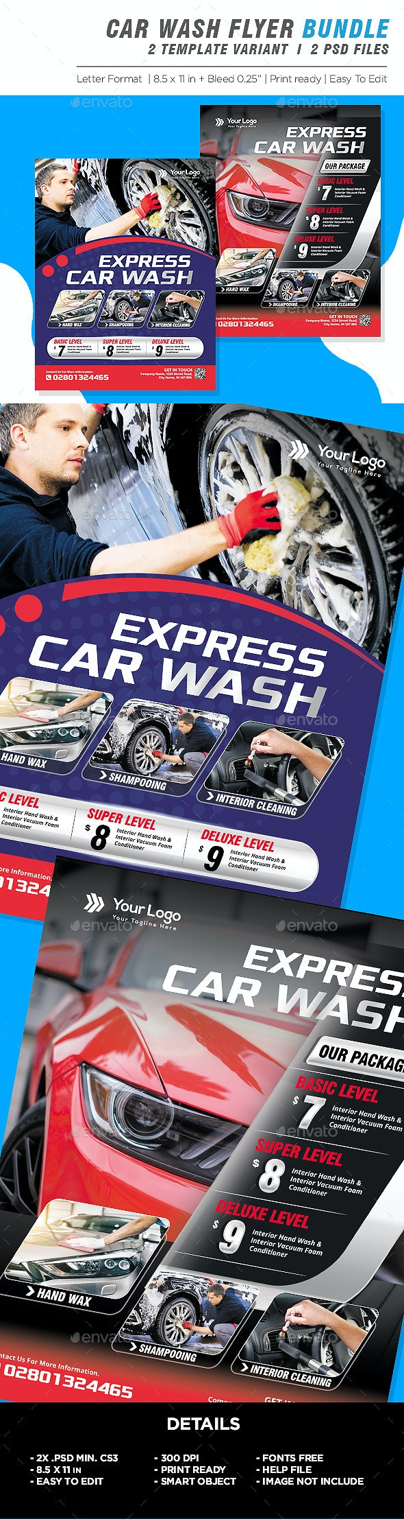 Car Wash Flyer Bundle - Corporate Flyers