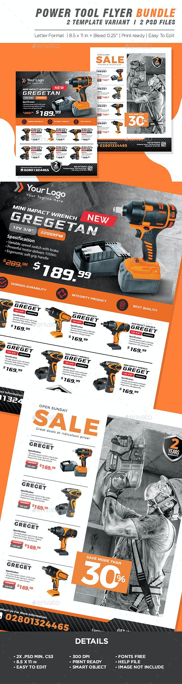 Power Tools Product Flyer Bundle - Corporate Flyers