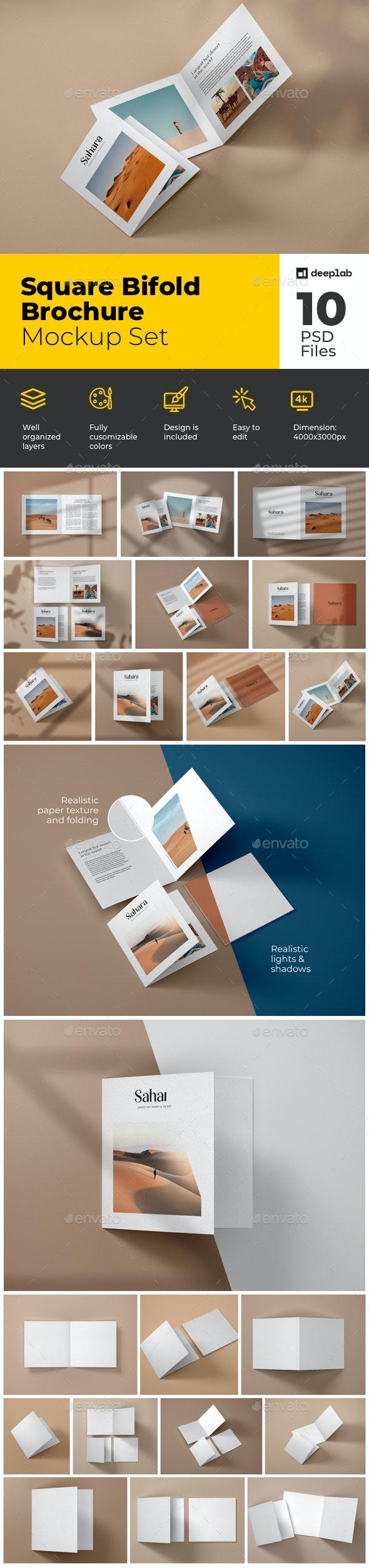 Square Bifold Brochure Mockup Set - Product Mock-Ups Graphics