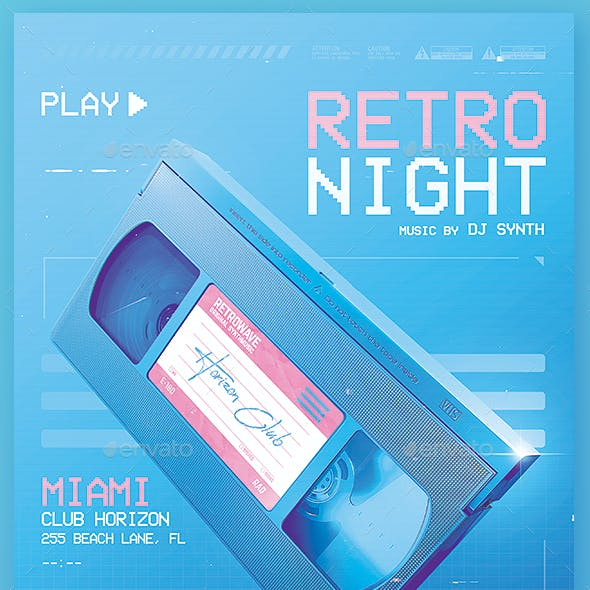 New Retro Wave Flyer 80s VHS Template v5
