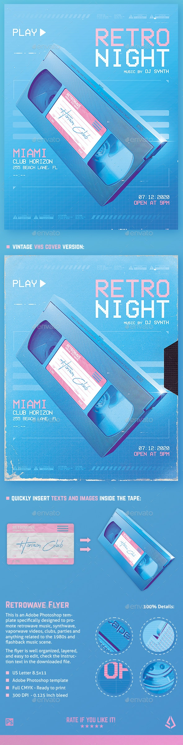 New Retro Wave Flyer 80s VHS Template v5 - Clubs & Parties Events
