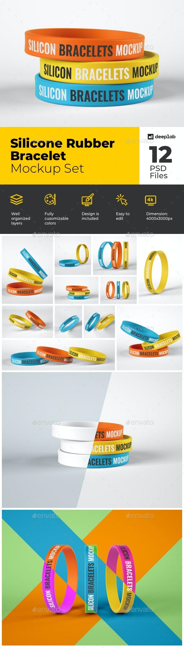 Silicone Rubber Bracelet Mockup Set - Product Mock-Ups Graphics