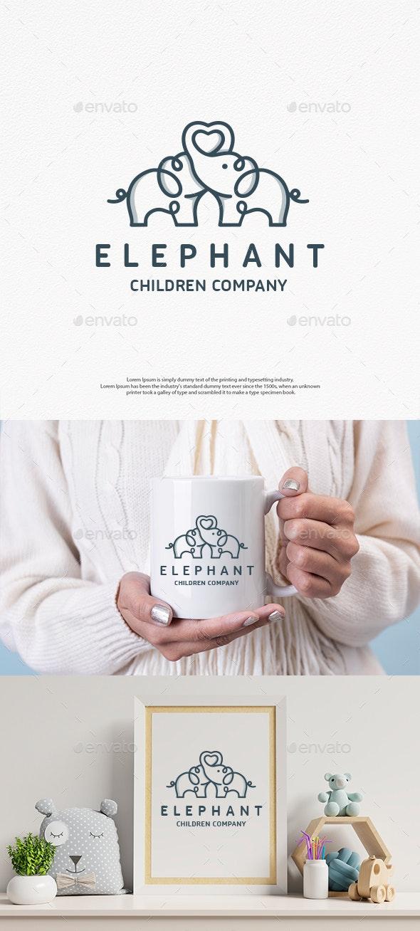 Elephant Love Logo Template - Animals Logo Templates
