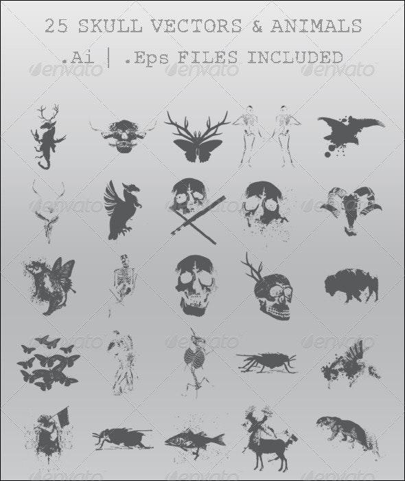 25 Skull Vectors & Animals - Animals Characters
