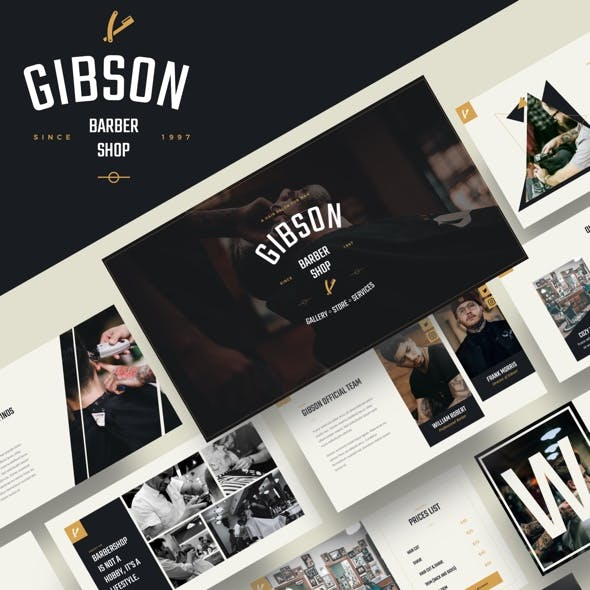 GIBSON - Barbershop & Shaving Keynote Template