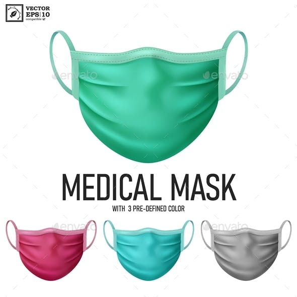 Realistic Medical Mask with 3 Predefined Colors