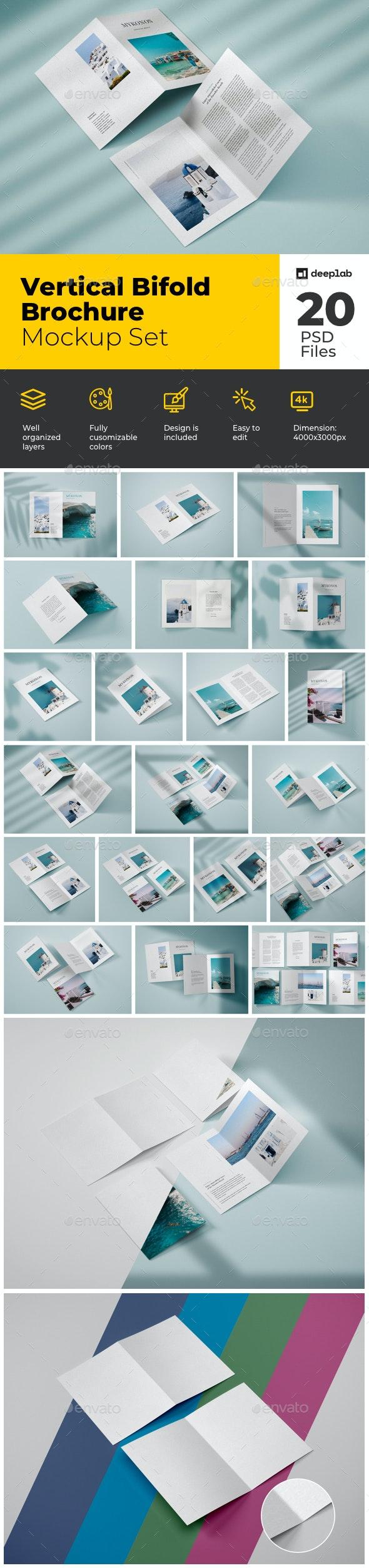Vertical Bifold Brochure Mockup Set - Product Mock-Ups Graphics