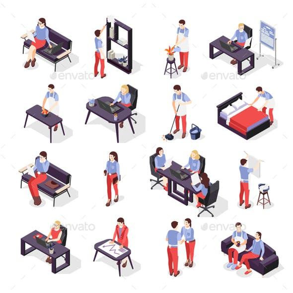 House Husband Isometric Icons Set
