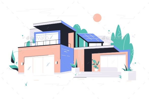 Modern House With Garage Balcony And Roof By Evanat Graphicriver