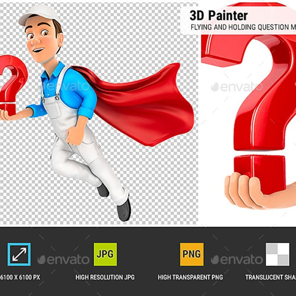 3D Painter Flying and Holding Question Mark