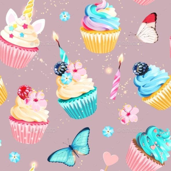 Vector Seamless Pattern with Cupcakes and Candles