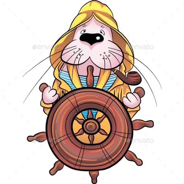 Vector Walrus Captain on the Ship