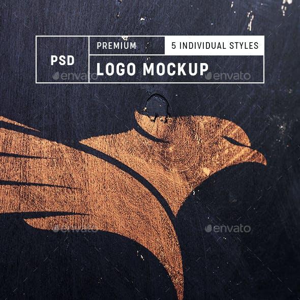 Logo Mock-up V.2 - Realistic Dark Wood Edition - Set of 5