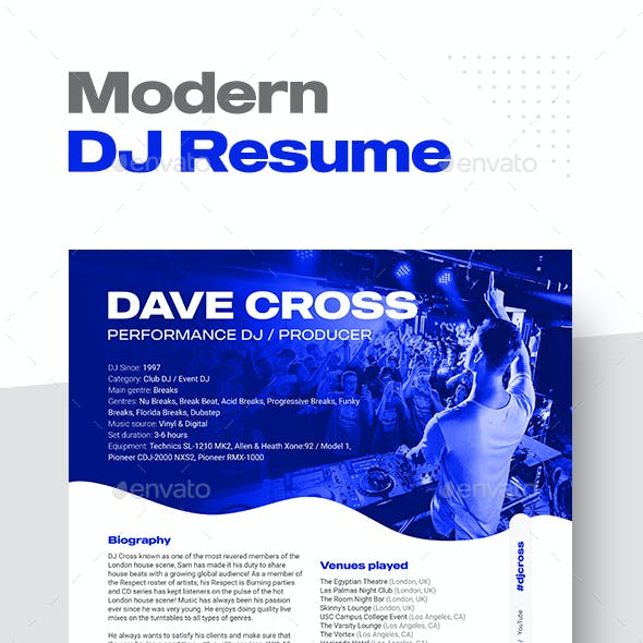 Modern DJ & Producer Resume Template