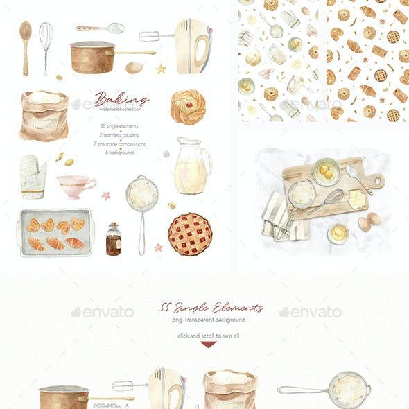 Baking at Home - Watercolor Clipart