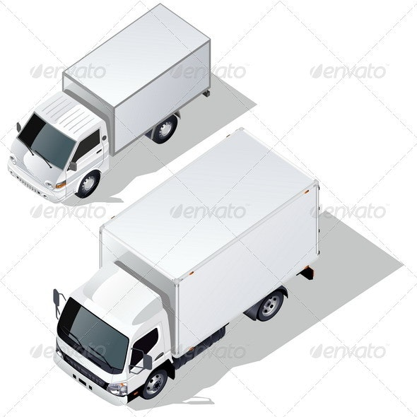 Delivery Truck Isometric Set - Man-made Objects Objects