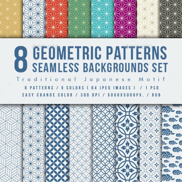 Geometric Patterns Seamless Backgrounds Set Traditional Japanese Motif
