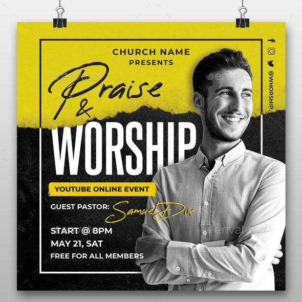 Praise and Worship Online Event Flyer