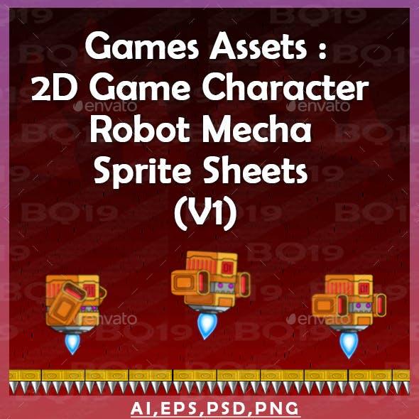 Games Assets : 2D Game Character  Robot Mecha  Sprite Sheets  (V1)