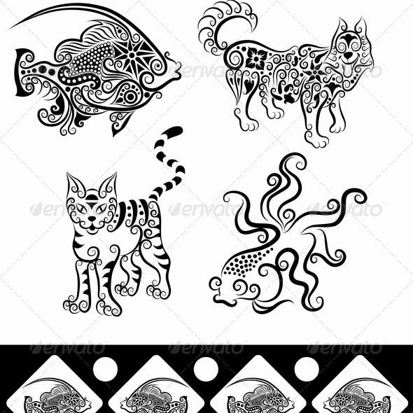 Animal Ornaments (Fish, Goldfish, Wolf, Cat)