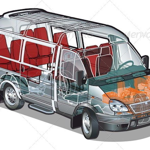 Mini Bus Infographics Cutaway
