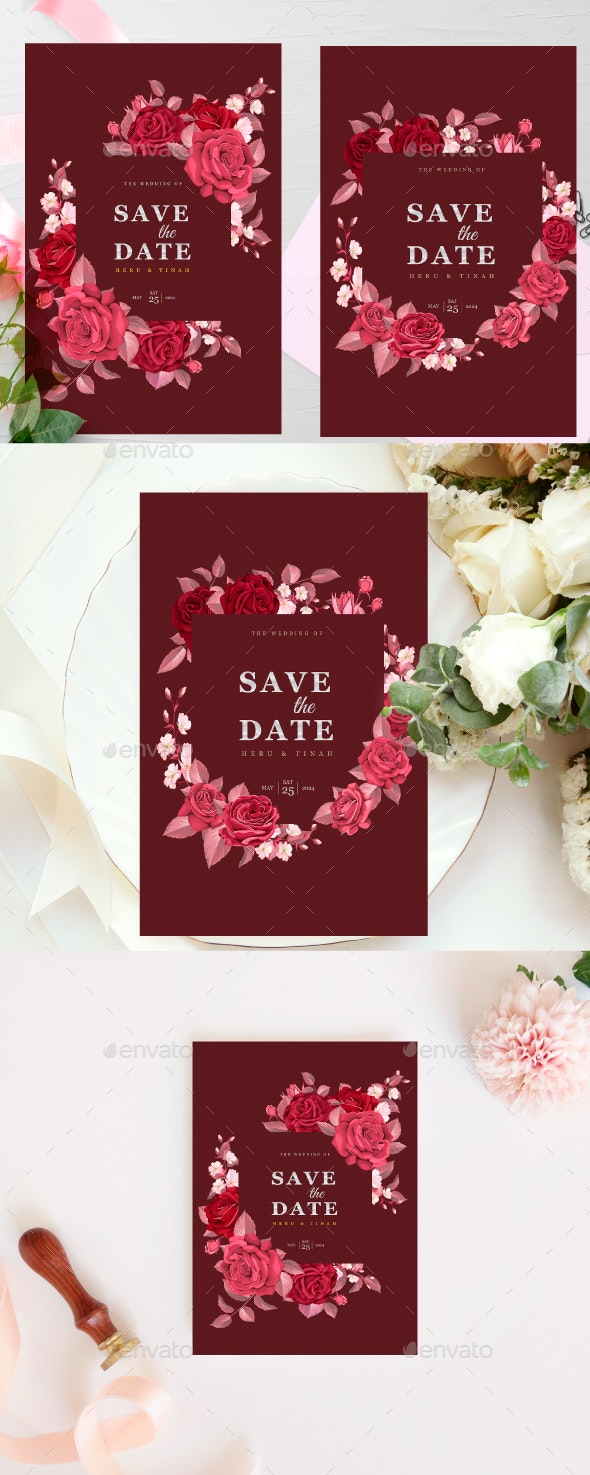 Wedding Invitation Template with Maroon Floral and Leaves by volcebyyou