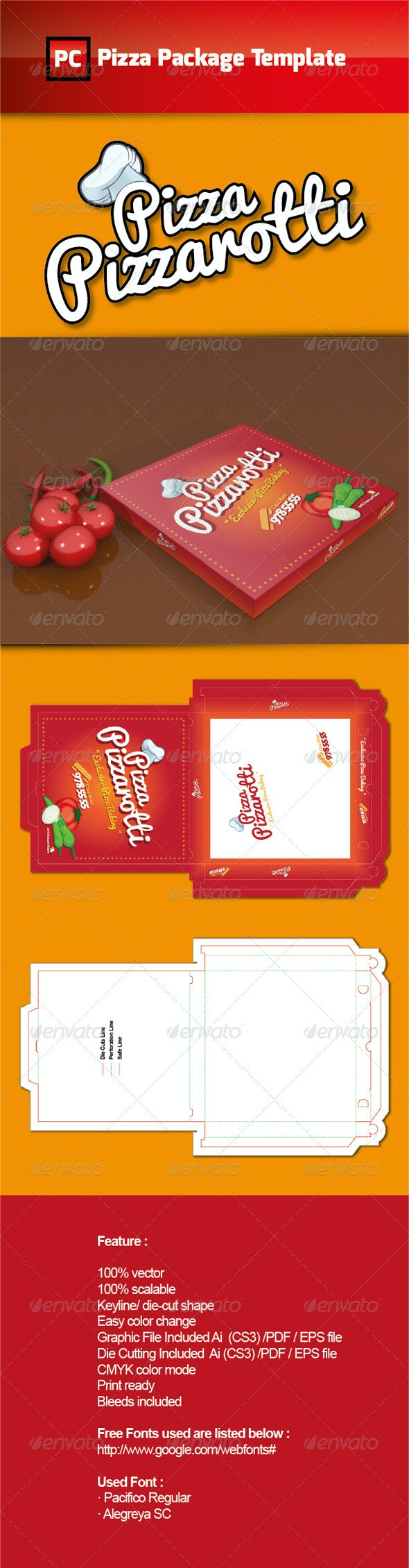 Pizza Package Template Vector - Packaging Print Templates