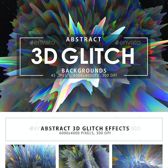 3D Glitch Abstract Backgrounds