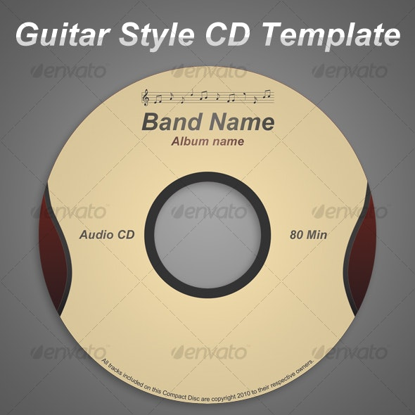 Guitar Style CD Template - CD & DVD Artwork Print Templates