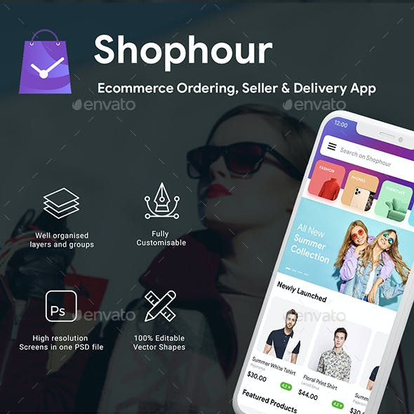 Ecommerce | Ordering, Seller & Delivery App UI Kit | ShopHour
