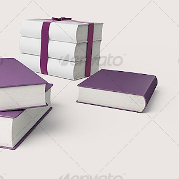 Violet and white books. 3D illustration