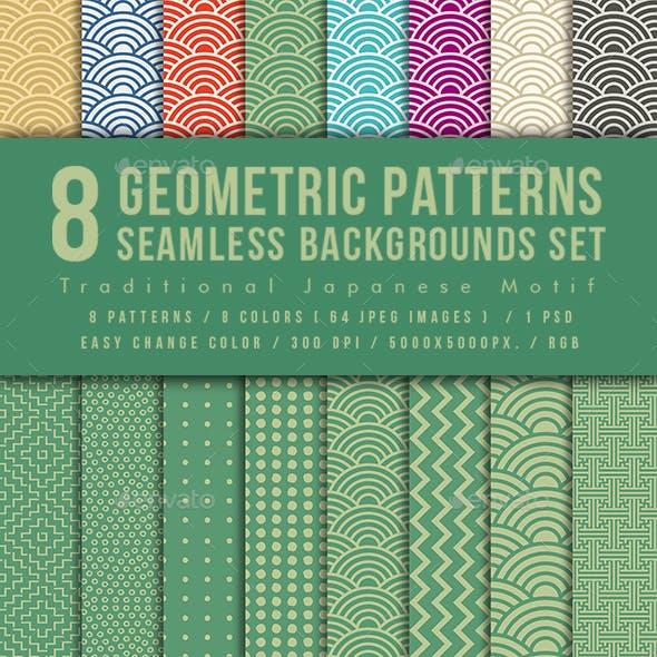 Japanese Motif Seamless Geometric Patterns Backgrounds Set