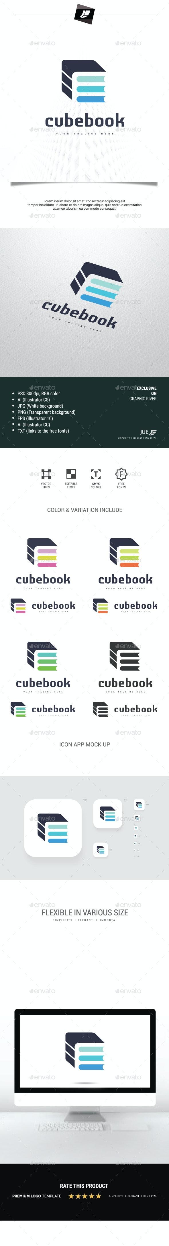 Letter E Cube Book Logo - Letters Logo Templates