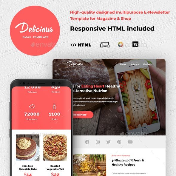 Delicious - Magazine & Shop HTML Email Template