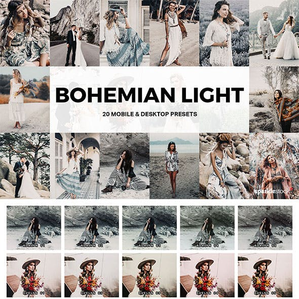 20 Bohemian Light Lightroom Presets and LUTs