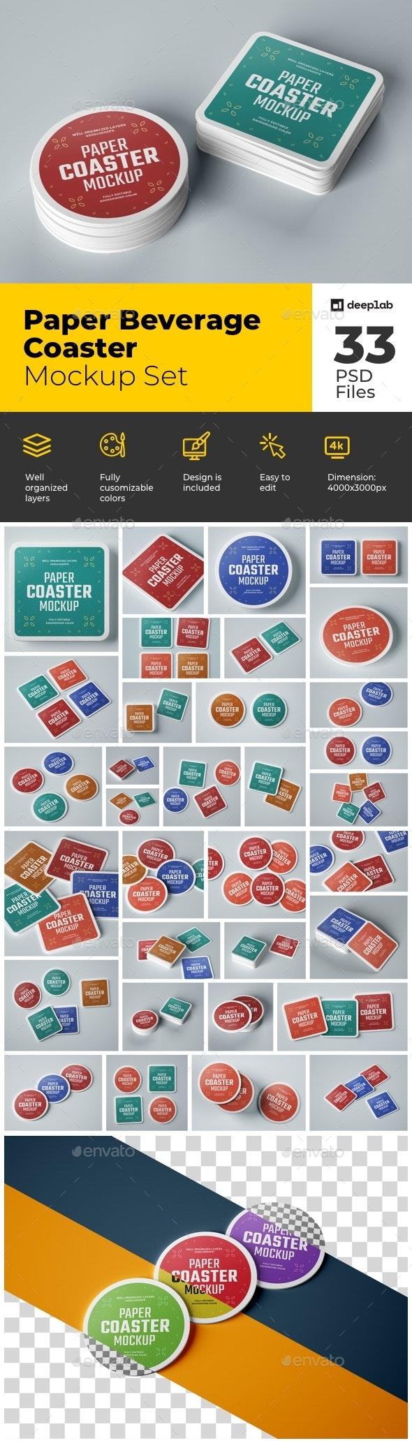 Paper Beverage Coaster Mockup Set - Product Mock-Ups Graphics