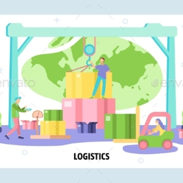 Global Logistics and Delivery Concept. Warehouse