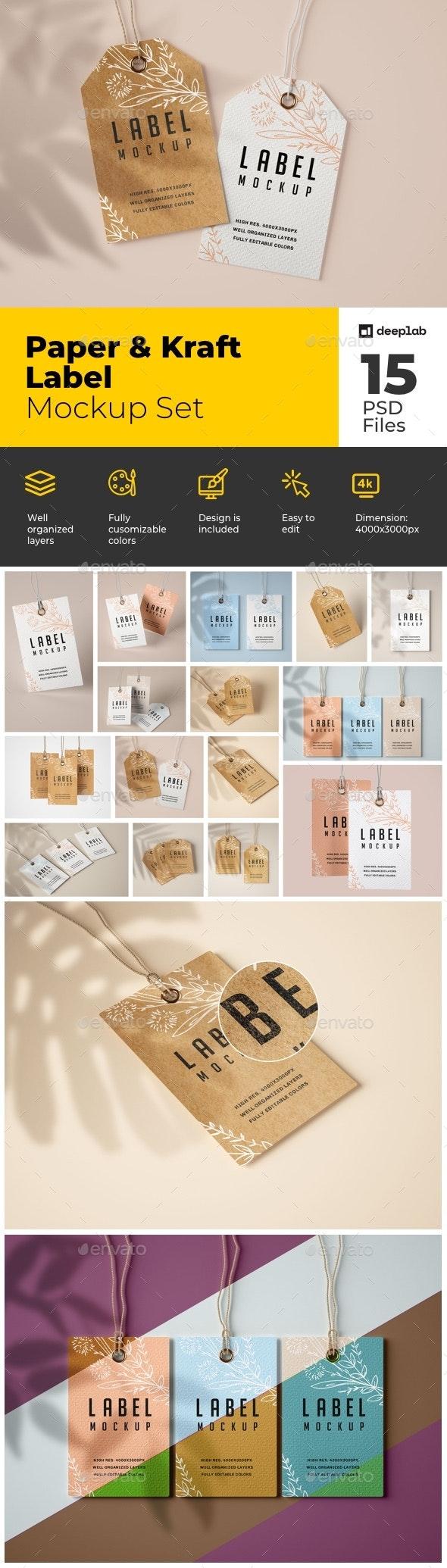 Paper & Kraft Label Mockup Set - Product Mock-Ups Graphics