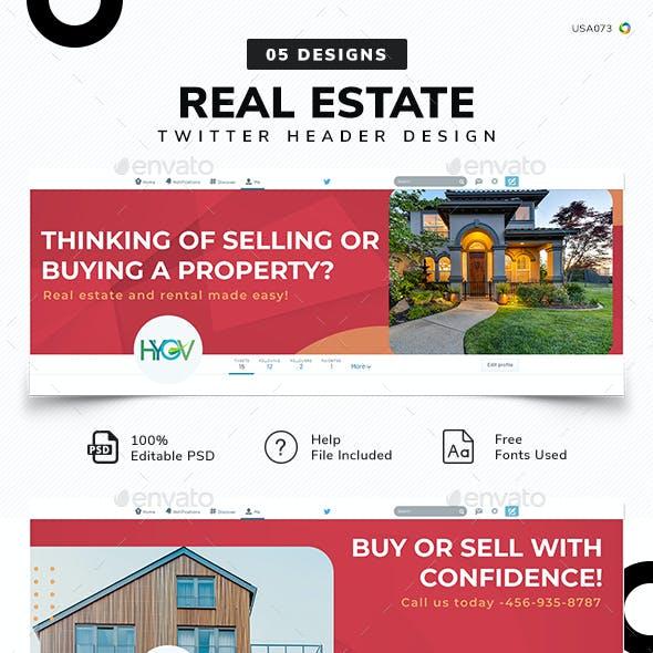 Real Estate Twitter Header Set - 05 Designs