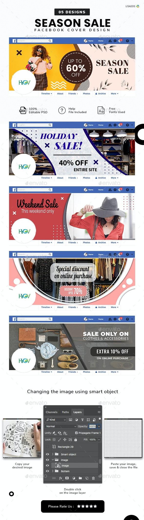 Season Sale Facebook Cover Set - 05 Designs - Facebook Timeline Covers Social Media