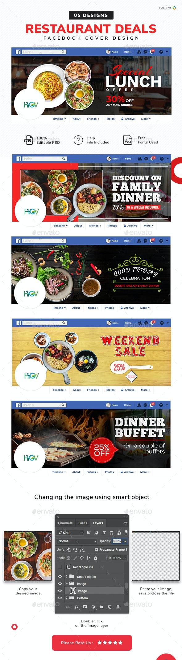 Restaurant Deals Facebook Cover Set - 05 Designs - Facebook Timeline Covers Social Media