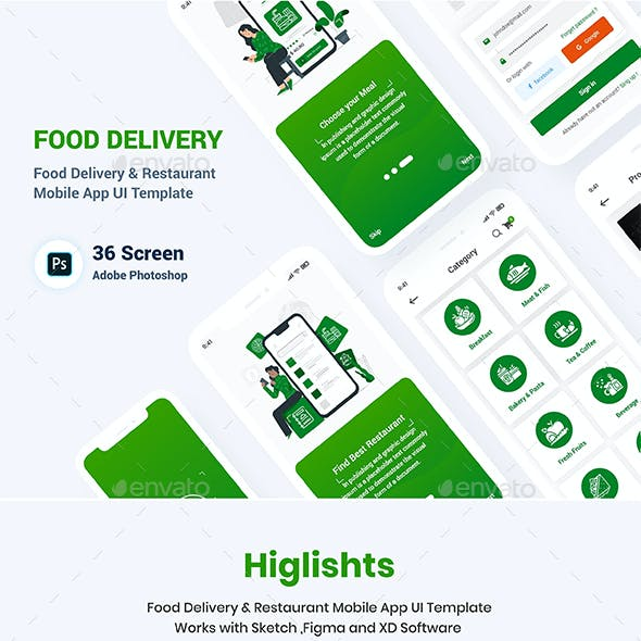 Food Delivery Restaurant Mobile App UI Template
